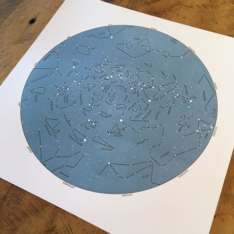 "Star Map Letterpress Prints - 12"" x 12"""