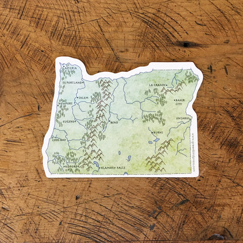 Oregon State Map Sticker