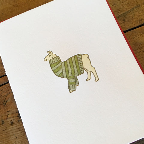 Llama Sweater Holiday Letterpress Cards