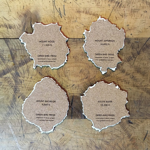 Oregon Cascades Topographical Coasters