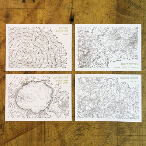 Topographical Map Letterpress Postcards - Oregon