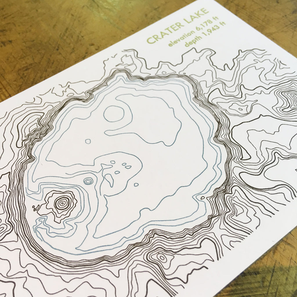 Crater Lake Topographic Map.Topographical Map Letterpress Postcards Oregon Green Bird Press