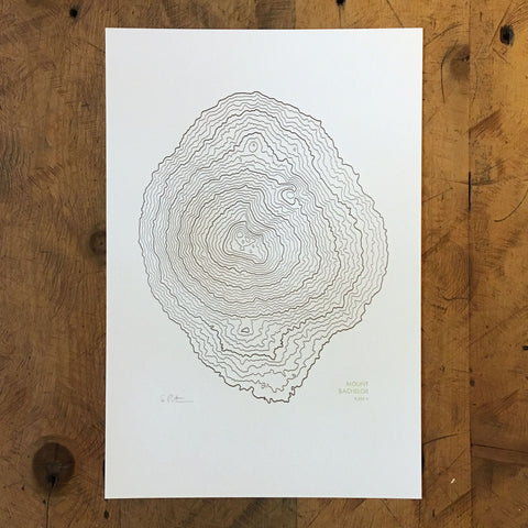 "Mount Bachelor Topographic Map Letterpress Print - 12"" x 18"""