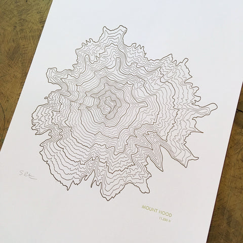 "Mount Hood Topographical Map Letterpress Print - 12"" x 18"""