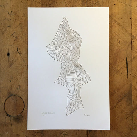 "Mount Thielsen Topographic Map Letterpress Print - 12"" x 18"""
