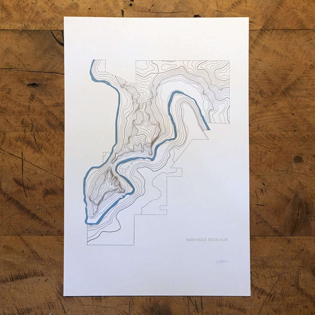 "Smith Rock State Park Topographic Map Letterpress Print - 12"" x 18"""