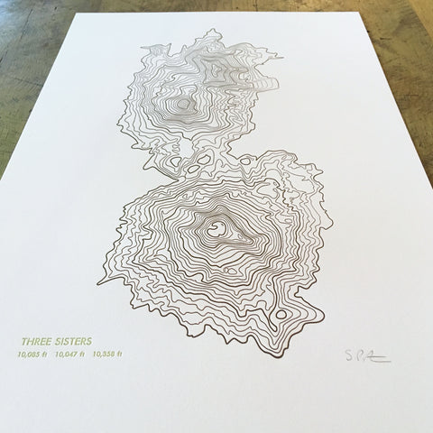 "Three Sisters Topographical Map Letterpress Print - 12"" x 18"""