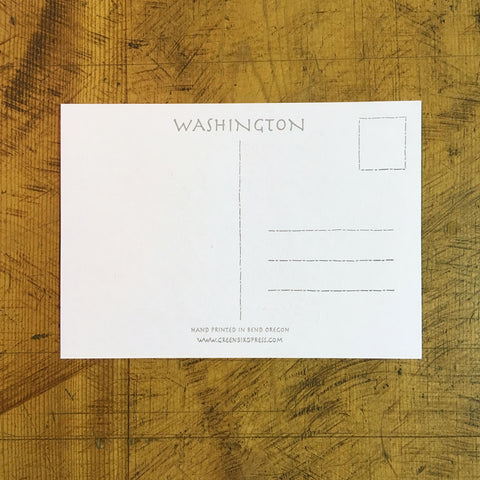 Washington State Map Letterpress Postcard