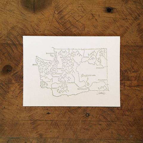 "Washington State Illustrated Map Letterpress Print - 5"" x 7"""