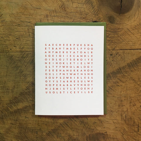 Holiday Word Search Letterpress Cards