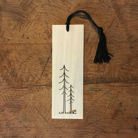 Minimal Adventure Letterpress and Watercolour Bookmark - Fox
