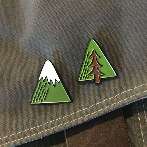 Minimal Adventure Enamel Pins - Mountain and Tree