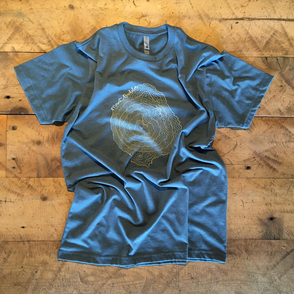 Mt Bachelor Topographic Map Screen Printed T-shirt