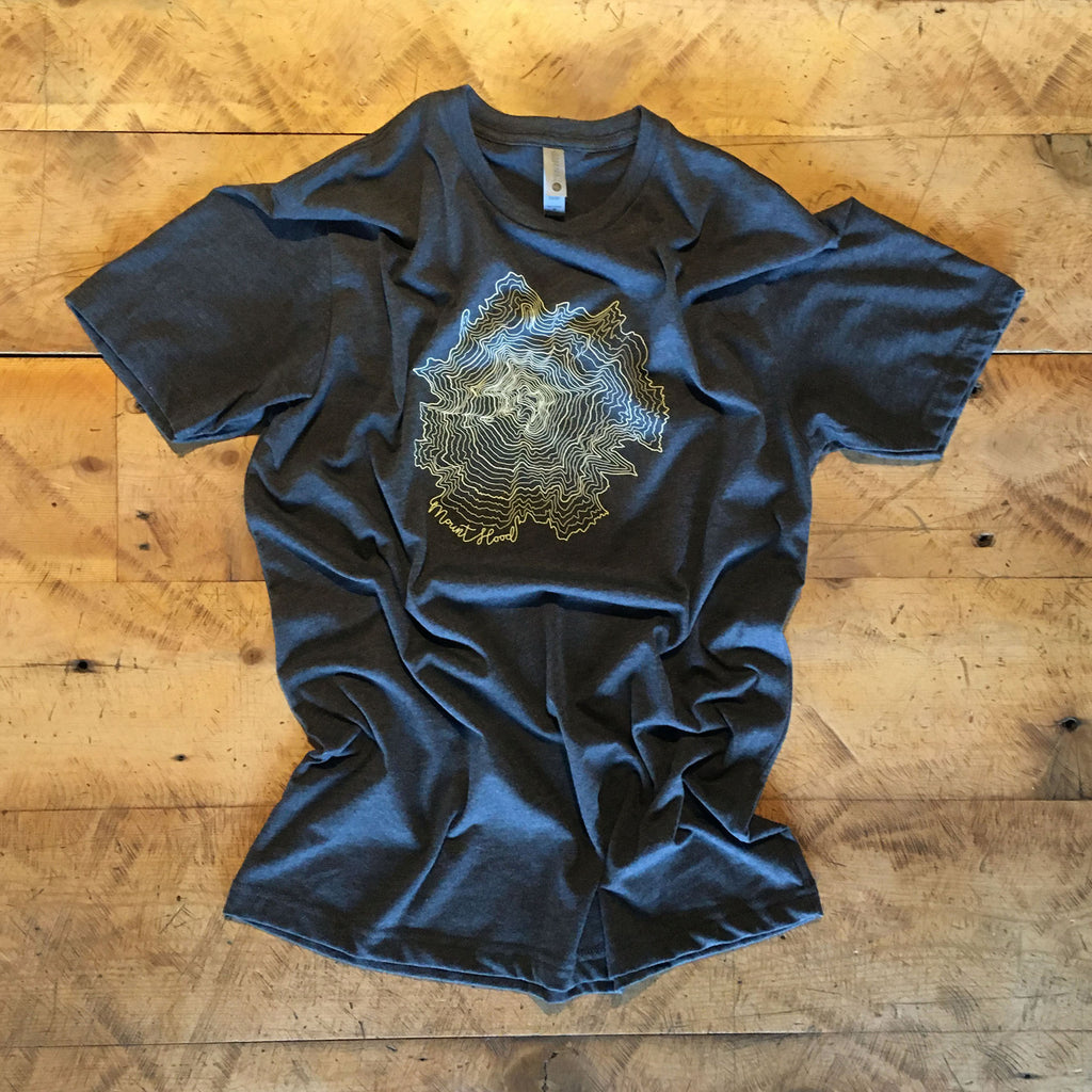 Mt Hood Topographic Map Screen Printed T-shirt