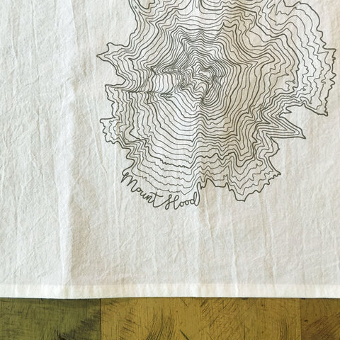 Mt Hood Topographic Map Screen Printed Tea Towel