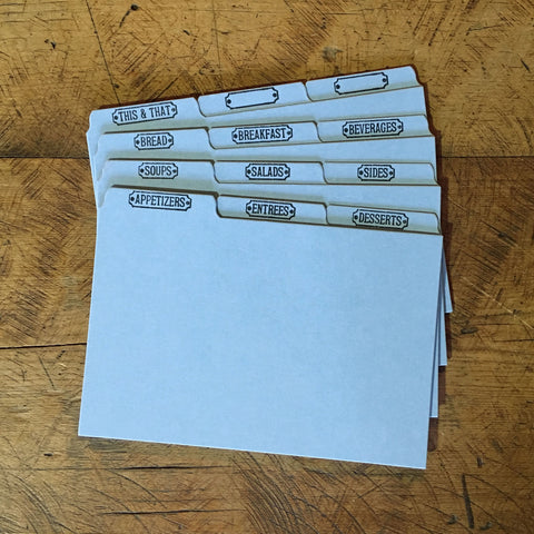 "Letterpress Recipe Card Dividers - 4""x6"" - Set of 12 - Blue"