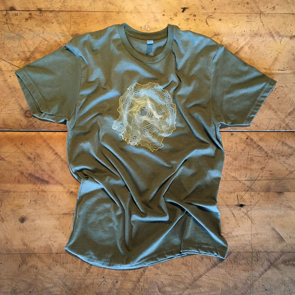 South Sister Topographic Map Screen Printed T-shirt