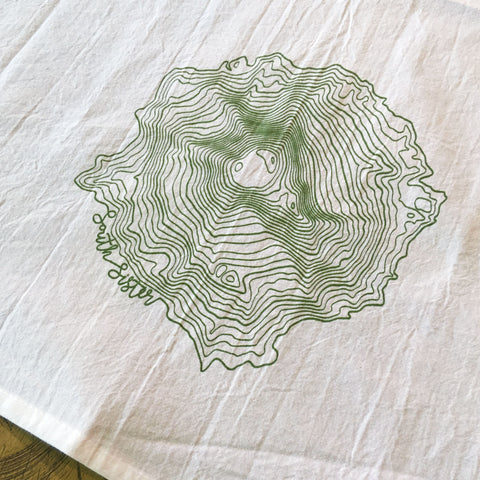 South Sister Topographic Map Screen Printed Tea Towel