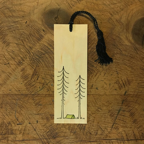 Minimal Adventure Letterpress and Watercolour Bookmark - Tent
