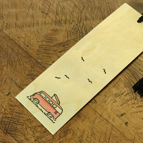 Minimal Adventure Letterpress and Watercolour Bookmark - VW