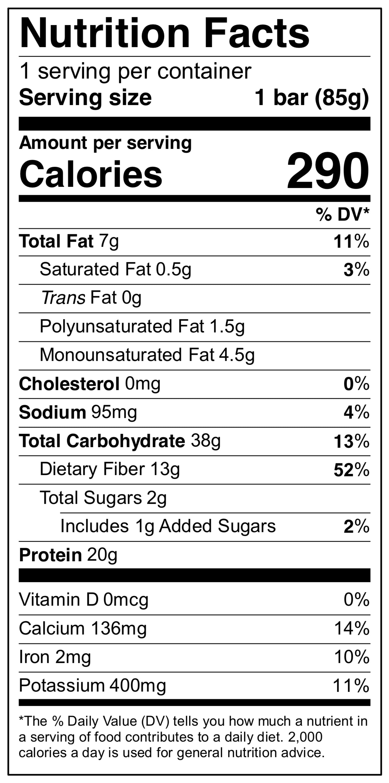 It's just a picture of Current Fiber One Bar Ingredient Label