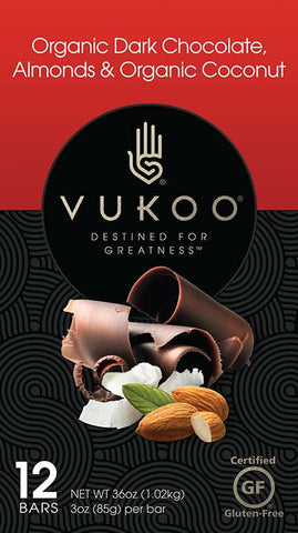 Vukoo Organic Dark Chocolate, Almond & Organic Coconut Bars