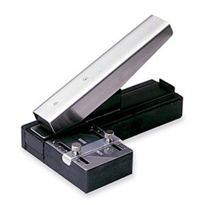 Stapler-style Slot Punch with Adjustable centering guide