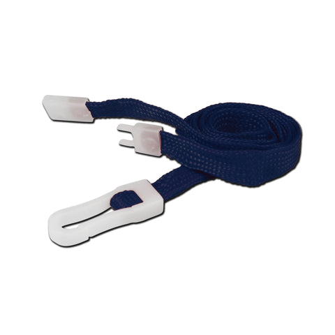 10mm breakaway lanyard, Navy Blue with Plastic Slide Hook