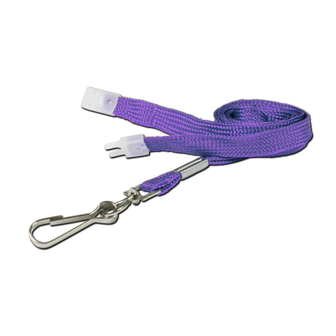 10mm breakaway lanyard, Purple with Metal Clip