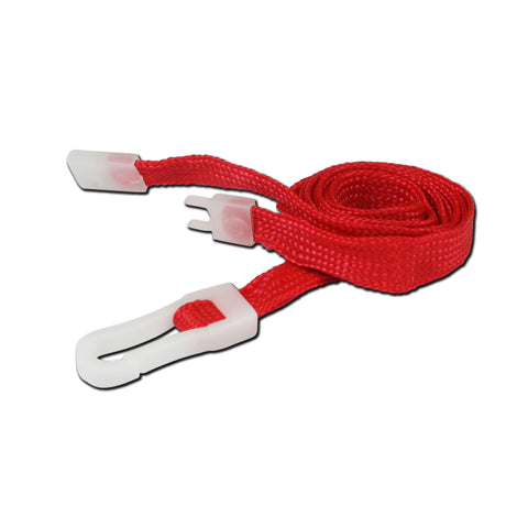 10mm breakaway lanyard, Red with Plastic Slide Hook