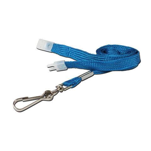 10mm breakaway lanyard, Sky Blue with Metal Clip