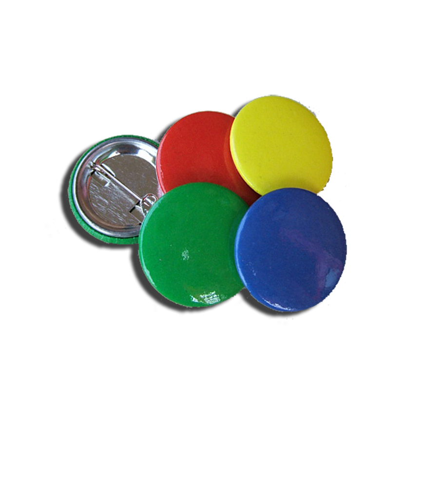 Classical Button Badges in Blue, Green, Red, Yellow.
