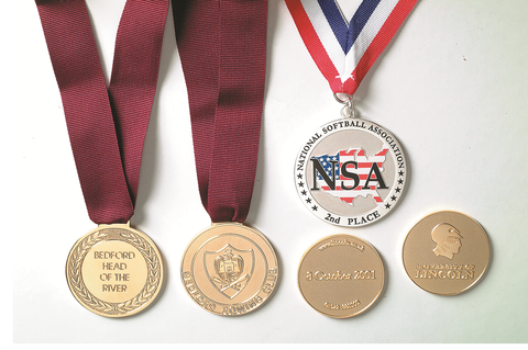 Custom designed medals with many ribbon design options.