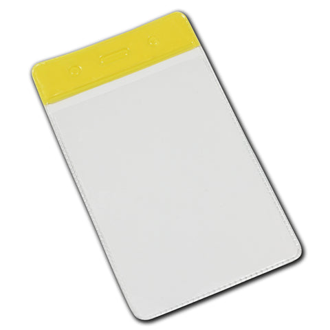 Vinyl Colour Top Visitor Pass Badge Holder, Portrait (58x88mm)- 100 Pack