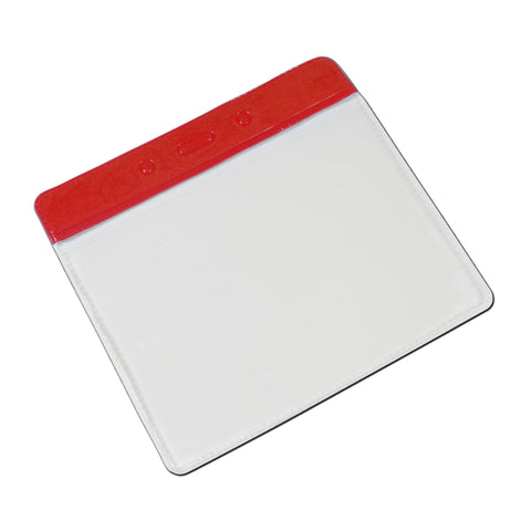 Vinyl Colour Top Visitor Pass Badge Holder, Landscape (95x70mm) - 100 Pack