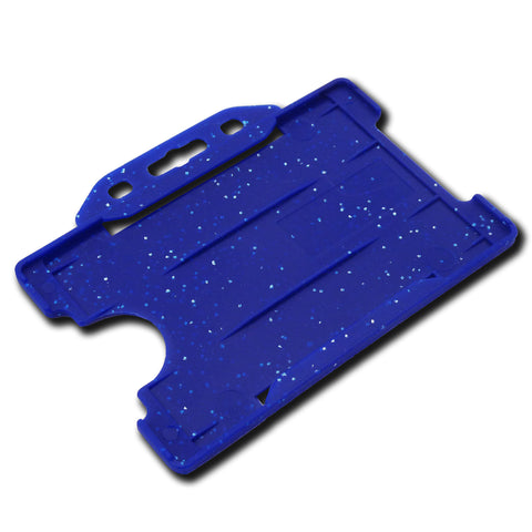 Rigid Card Holder Open-Face (Landscape) Blue - METAL DETECTABLE