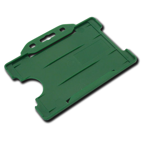 Green open faced rigid card holder - landscape