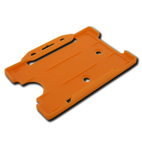Orange open faced rigid card holder - landscape