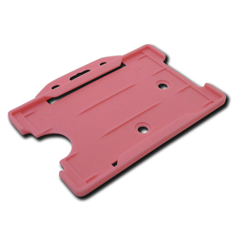 Pink open faced rigid card holder - landscape