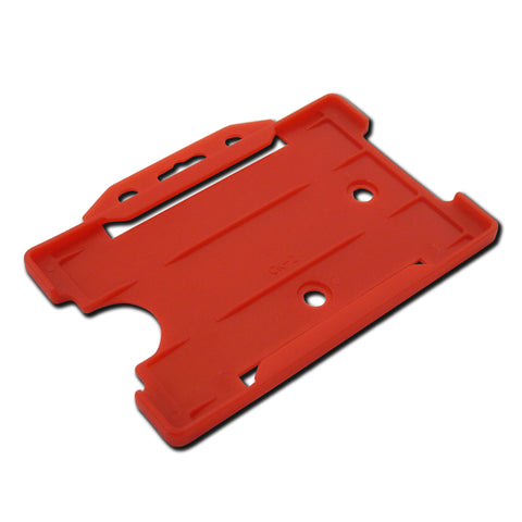 Red open faced rigid card holder - landscape