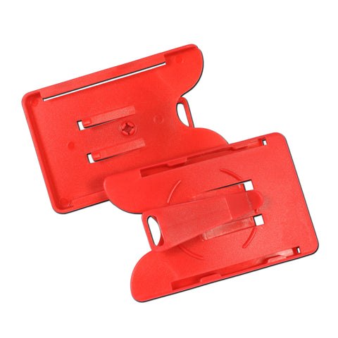 Rigid Card Holder Open Face and Rotating Clip - 100 Pack
