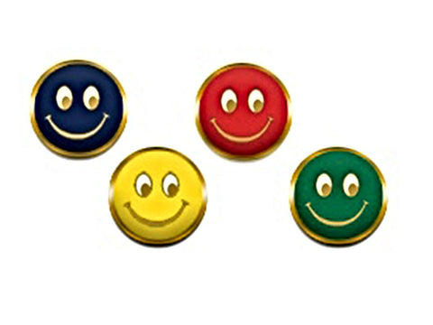 Smiley Face Badges in Blue, Green, Red, Yellow.