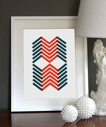 Layered Chevron Red/Blue