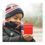 A child holds a red gift box in his hands