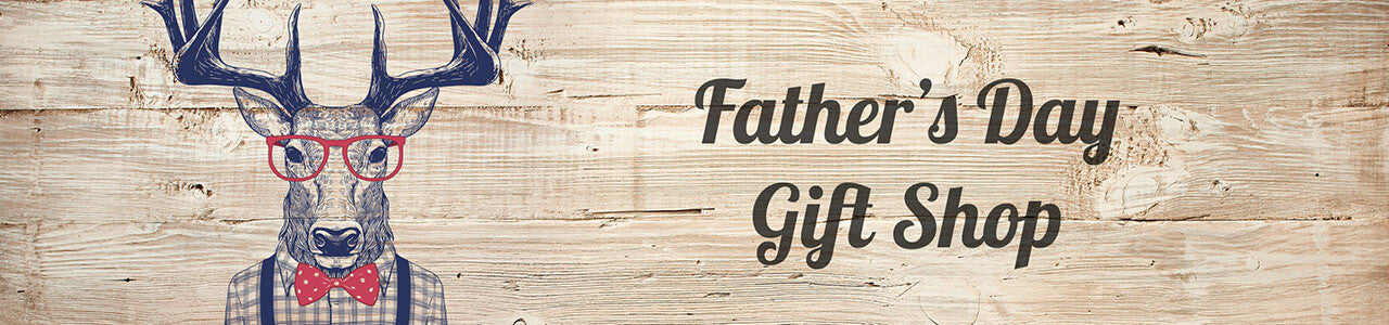 Father's Day Gift Shop. Text sits on a light wood countertop with an illustration of a stag wearing glasses and a bow tie.