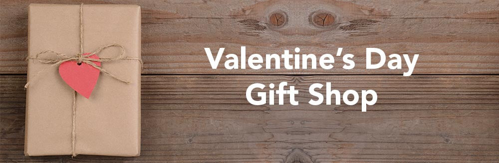 Valentine's Day Gift Shop; A gift is wrapped in brown paper with a red heart tag