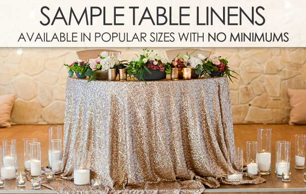 SHOP SAMPLE TABLE LINENS IN POPULAR SIZES