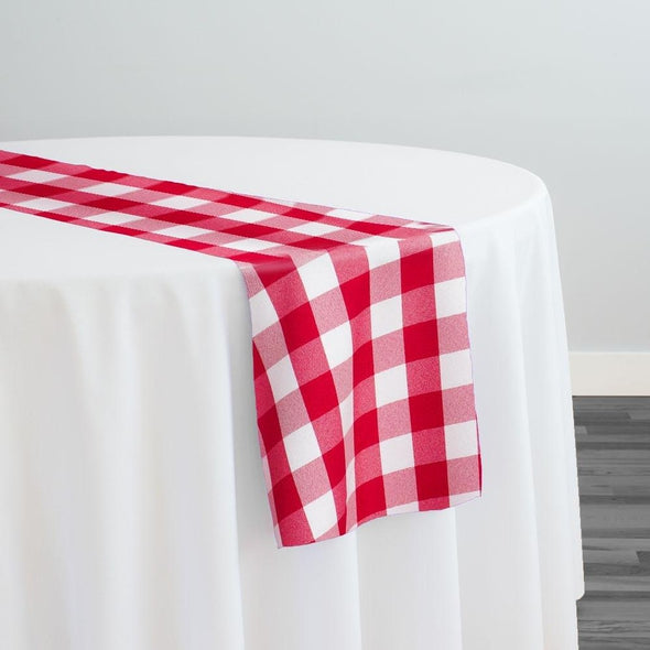 Polyester Checker (Gingham) Table Runner in Fuchsia
