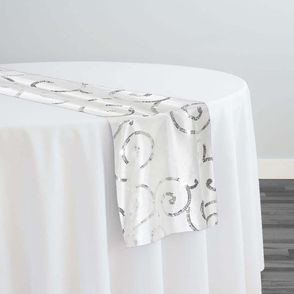 Swirl Sequins Taffeta Table Runner in Silver and White