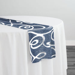 Contempo Scroll Sheer Table Runner in Navy